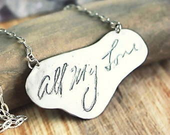 Personalized Handwriting Necklace, Signature, Actual handwriting, memorial jewelry, silver customized jewelry, mom jewelry
