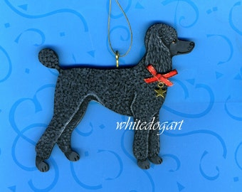 Handpainted Black Poodle Christmas Ornament