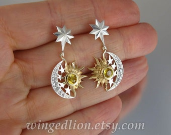 SUN and MOON Eclipse silver and 14k gold Sapphire earrings - Ready to ship