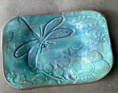 Ceramic Soap Dish jewelry holder Trinket Dish Sea green