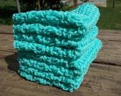 Crochet Dishcloth/ Washcloth - Handmade Wash Rag -Set of 4 Kitchen Dish Cloths-Extra large size-Seabreeze Color