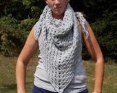 CLEARANCE-Triangle Shawl-Stole-Triangle Scarf- Wrap- Granny Design-Light Gray-Crochhet-Ready to ship