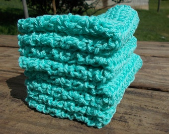 Crochet Dishcloth/ Washcloth - Handmade Wash Rag -Set of 4 Kitchen Dish Cloths-Extra large size-Seabreeze Color