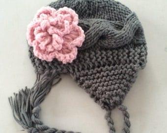 Crochet Baby Hat, Baby Girl Hat, Ear Flap Hat, Baby Newborn Hat, Baby Girl, Grey Pink, Newborn Hat, Newborn Baby Hat, Crochet Hat
