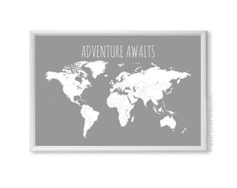 SALE PRICE - World Map, Adventure Awaits Map, First Anniversary Gift for Him, Husband Gift, Large World Map Poster, Travel Map Print, 24x36
