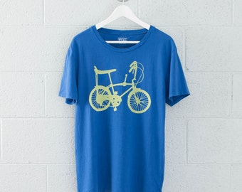 Men's Large Wheelie Bike Tee, Lemon on Royal Blue
