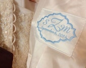 Something Blue Wedding Dress label, Border Monogram Style