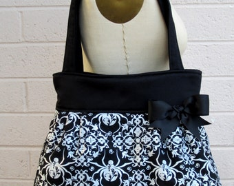 Black Widow Purse, Black Spider Handbag, Gothic Purse, Halloween Purse