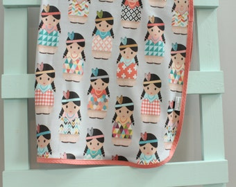 Baby Blanket swaddle coral indian doll organic by PETUNIAS newborn hipster modern baby shower gift photo prop wrap cotton girl boy nuetral