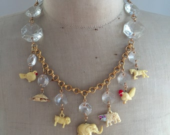 SALE Vintage Animal Necklace, Gum Ball Necklace, Celluloid and Crystal, Statement Necklace - Noah's Ark