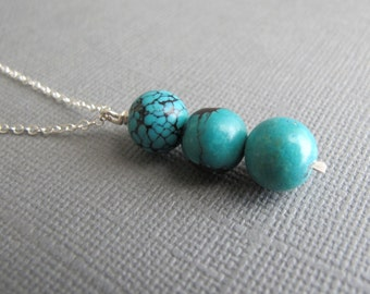 Turquoise Pendant on Sterling Silver Chain, Simple Geometric Blue Necklace