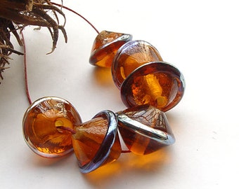 artisan lampwork, handmade  -   Amber with a Bling - by Calisto