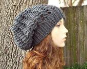 Grey Womens Hat Grey Slouchy Beanie - Spring Cyclone Beret Grey Knit Hat - Grey Hat Grey Beret Womens Accessories Winter Hat