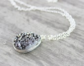 Druzy Gemstone Necklace, Geode Jewelry, Sterling Silver Necklace, Silver Pendant Necklace, Wire Wrap Necklace, Druzy Quartz Necklace