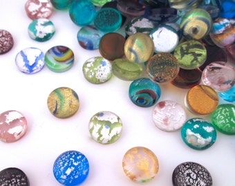 10mm Dichroic Glass Crackle Cabochons, Metallic Foil Cracked Glass Cabochons