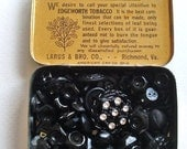 antique tobacco tin filled with over 100 vintage and antique black buttons and cabachons
