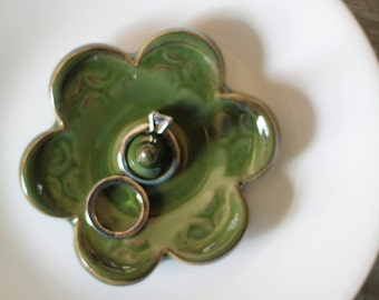 Seaweed Green Ring Holder - Handmade Pottery Dish for rings
