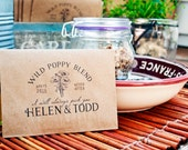 Poppy Seed Wedding Favors - Personalized Bag and Seeds included - Wild Poppy Blend - 30 Packets or more