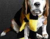 Harry Potter Hufflepuff house inspired yellow and black wizard dog scarf