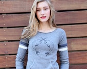 Women Organic Graphic Sweatshirt, Gray Sweatshirt, Ladies Organic Yoga Pullover, Lounge Top, Organic Pullover, Whale Shirt, Narwhal Shirt
