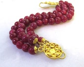 Raspberry Ruby Triple Strand, 24k Gold Vermeil Detailed Gorgeous Focal Bracelet...