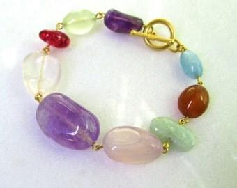 Luminous Large Polished Nuggets of Multi Gemstones, Linked Bauble Bracelet in 14kg fill...