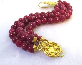Raspberry Ruby Triple Strand, 24k Gold Vermeil Detailed Gorgeous Focal Bracelet...
