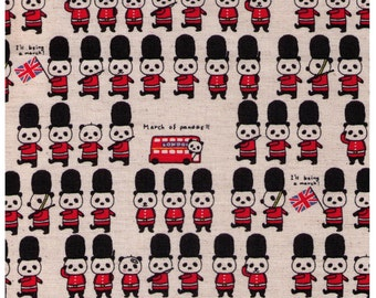 HALF YARD - British March of Pandas on Natural - Queens Guard -  Japanese Import