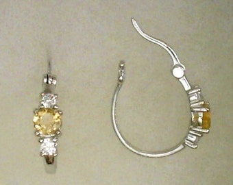 5mm Citrine Gemstone with 3mm White Cubic Zirconia Accents in 925 Sterling Silver Hoop Earrings November Birthstone