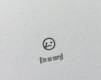 Emojicards: I'm So Sorry, single letterpress card