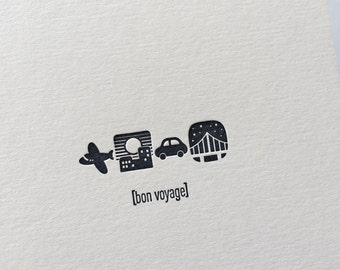 Emojicards: Bon Voyage, single letterpress card