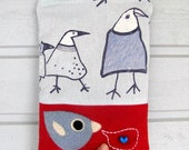 Zippered pouch purse red wool light blue birdies cotton with a needle felted birdie bird