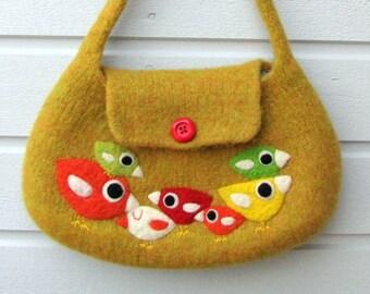 Felted bag purse ochre yellow green wool handbag shoulderbag hand knit needle felted birdie birds
