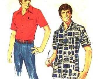 Simplicity 6368 Men's Jiffy Shirt Large 42 44 VINTAGE 1970s