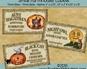 Instant Download - Printable Farmhouse Labels - Halloween - Pumpkin Pie Tea Mulled Cider - Digital PDF or JPG File