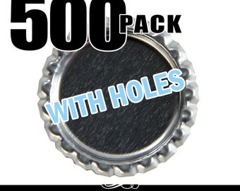 500 Flat Bottle Caps. Flattened Chrome Bottle Caps with Hole. Annie Howes.