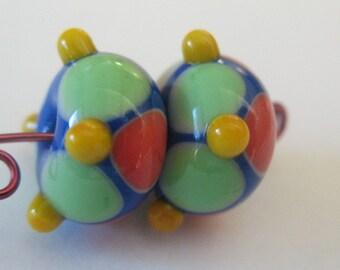 Lampwork bead pair-Lampwork earring pair-Handmade lampwork beads-glass beads-glass art-glass blowing
