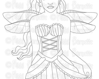 Digital Stamp - Printable Coloring Page - Fantasy Art - Fairy Stamp - Adult Coloring Page - Brinley - by Nikki Burnette - PERSONAL USE
