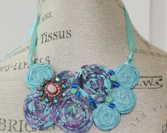 Fabric Rosette Statement Unique Bib Necklace Purple and Blue Batik