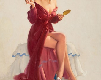 Sale Large Canvas - Do YOU LIKE RED?  Pin-Up Lingerie Nylons Stockings pinup Swing