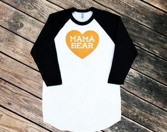 Mama Bear with Heart Black Raglan Sleeve Baseball TShirt with Ochre Mustard Yellow Print