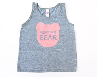 Sister Bear Kids Toddler TriBlend Heather Grey Tank Top with Pink Print
