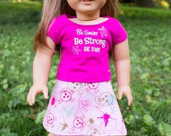 American Girl Doll Skirt: Pink Skulls Reversible Wrap Skirt