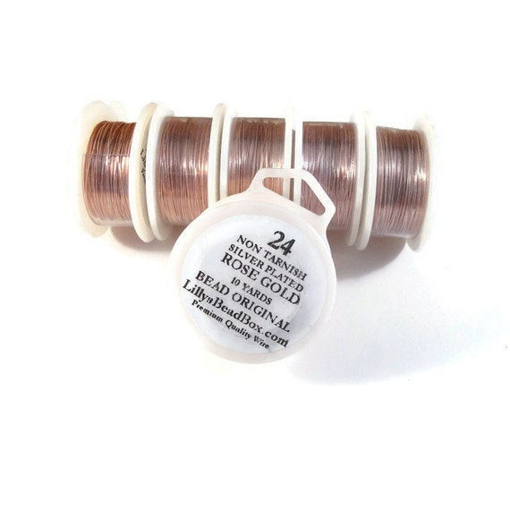 Rose Gold Plated Wire, 24 Gauge Wire, Round, Half Hard Wire for Wrapping Stones, Gemstone Supplies, Soft Wire, Non Tarnish