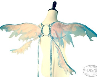 Jaenelle No. 21, Medium Organza Fairy Wings in Pink and Blue