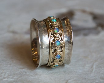 Silver gold wedding band, spinner ring, opal ring, boho chic ring, gypsy ring, hippie ring, twotone ring, floral - New beginnings 2 R1149XZ