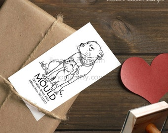 0382 NEW! JLMould Pitbull Pit Bull AKC Dog return address Red Rubber Professional Mounted Stamp Fast Shipping