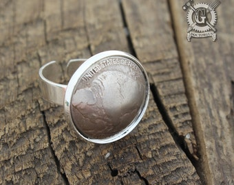 Dapped Buffalo Nickel Adjustable Ring - Buffalo Up - A Repurposed Coin Creation By Doctorgus - Recycled Coin Jewelry - Gypsy Boho style