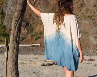 INDIGO Dip Dyed V-Neck Short Kaftan ( light hemp and organic cotton knit )