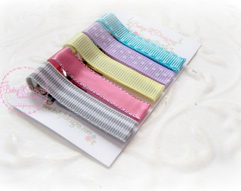 Simple No Bow Clips / Newborn Baby Hair Clip. Baby K Snap or Alligator Clips. Various 5 Hair Clip Newborn Baby Toddler Gray Coral Aqua Pink